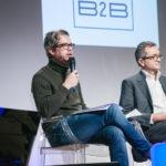 De gauche à droite : Olivier Sauvage (Wexperience) et Sacha Tikhomiroff (Staples) - Les Enjeux Innovation B2B 2017 Crédit photo : Guillermo Gomez