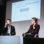 De gauche à droite : Maxime Baumard (iAdvize) et Marie Amiot (EBP) - Les Enjeux Innovation B2B 2017 Crédit photo : Guillermo Gomez