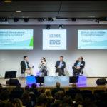 De gauche à droite : Stéphane Loire (Next Content), Constance Martiny-Sondag (Mercateo), Jean-Louis Coustenoble (Agoply) et Bruno Laborie (Tradeshift) - Les Enjeux Innovation B2B 2017 Crédit photo : Guillermo Gomez